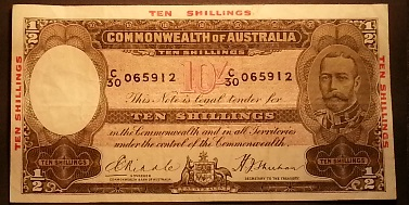 R10 - George V 1934 Issue - Ten Shillings